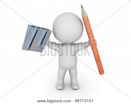 3D Character Holding Pencil And Pencil Sharpener