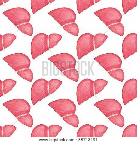 Watercolor seamless pattern with realistic human liver on the white background, aquarelle.  Vector i