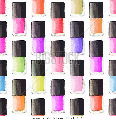 Seamless watercolor pattern with beauty items on the white background, aquarelle nail polish.  Vecto