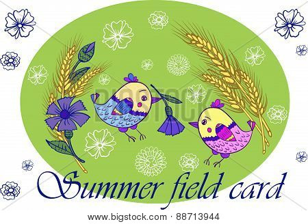 Summer card with birds and flowers vector illustration