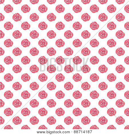 Watercolor seamless pattern with red roses on the white background, aquarelle.  Vector illustration.