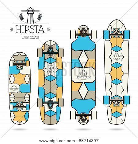 Hipster Print For Longboard