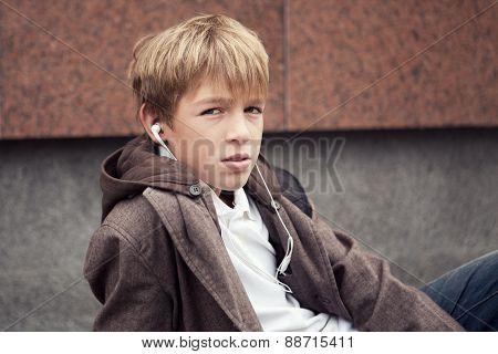 Portrait Of Teenager In  Jacket, Outdoor
