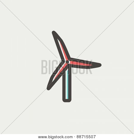 Windmill icon thin line for web and mobile, modern minimalistic flat design. Vector icon with dark grey outline and offset colour on light grey background.