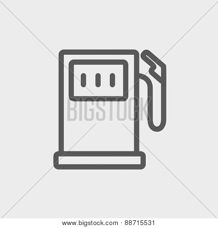 Gasoline pump icon thin line for web and mobile, modern minimalistic flat design. Vector dark grey icon on light grey background.