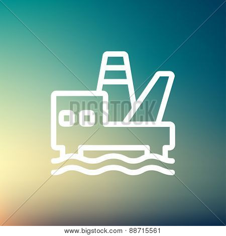 Oil platform thin line icon for web and mobile, modern minimalistic flat design. Vector white icon on gradient mesh background.