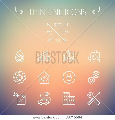 Ecology thin line icon set for web and mobile. Set includes - gear wheel, gas pump, leafs, tools, plug, building, electric car icons. Modern minimalistic flat design. Vector white icon on gradient