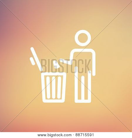 man throwing garbage in a bin icon thin line for web and mobile, modern minimalistic flat design. Vector white icon on gradient mesh background.