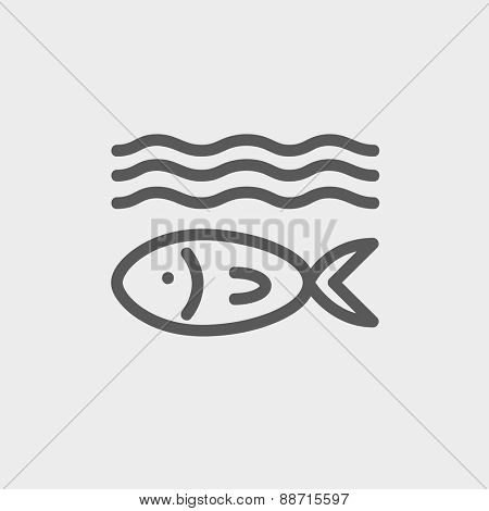 Fish under water icon thin line for web and mobile, modern minimalistic flat design. Vector dark grey icon on light grey background.