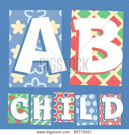 Vector set of cosy countryside children font. Letters A B