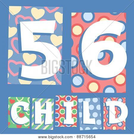 Vector set of cosy countryside children font. Numbers 5 6