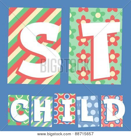 Vector set of cosy countryside children font. Letters S T