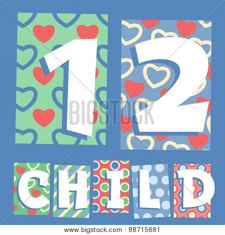Vector set of cosy countryside children font. Numbers 1 2