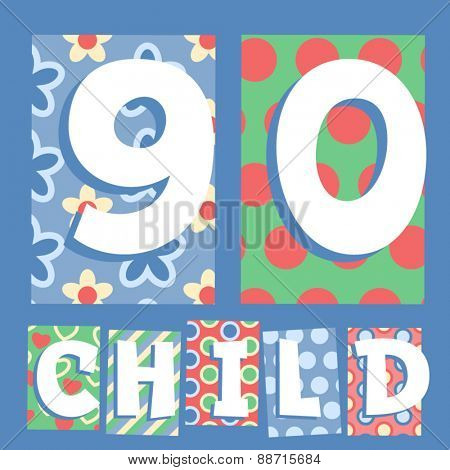 Vector set of cosy countryside children font. Numbers 9 0