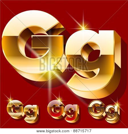 Vector set of deluxe sparkling  gold font. Optional red and gold style. Letter G