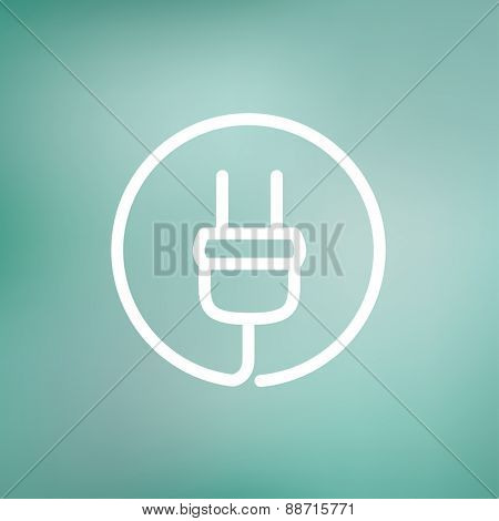 Electrical plug icon thin line for web and mobile, modern minimalistic flat design. Vector white icon on gradient mesh background.