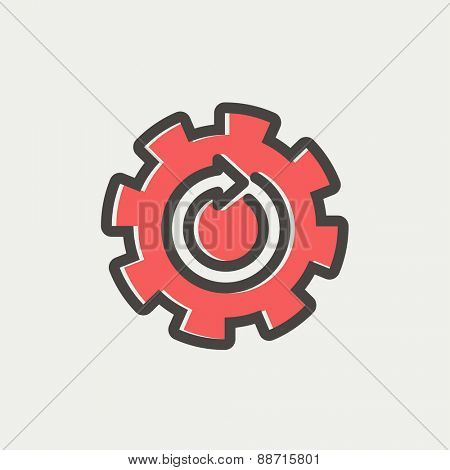 Gear wheel with arrow icon thin line for web and mobile, modern minimalistic flat design. Vector icon with dark grey outline and offset colour on light grey background.