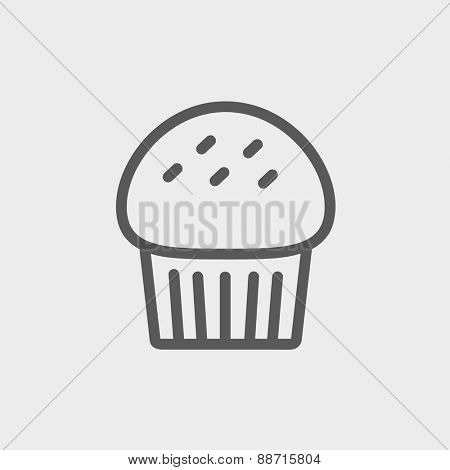 Cupcake icon thin line for web and mobile, modern minimalistic flat design. Vector dark grey icon on light grey background.