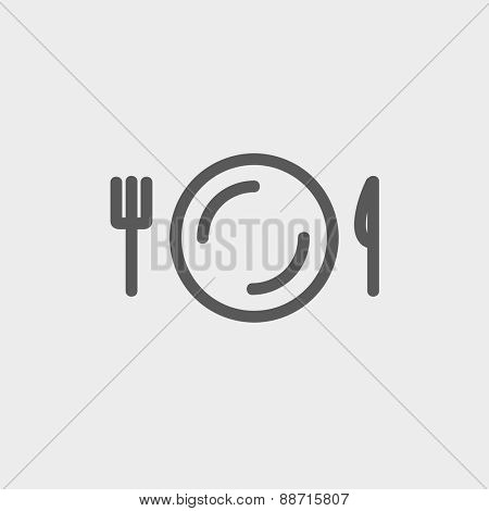 Plate, knife and fork icon thin line for web and mobile, modern minimalistic flat design. Vector dark grey icon on light grey background.
