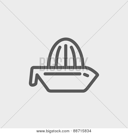 Lemon squeezer icon thin line for web and mobile, modern minimalistic flat design. Vector dark grey icon on light grey background.