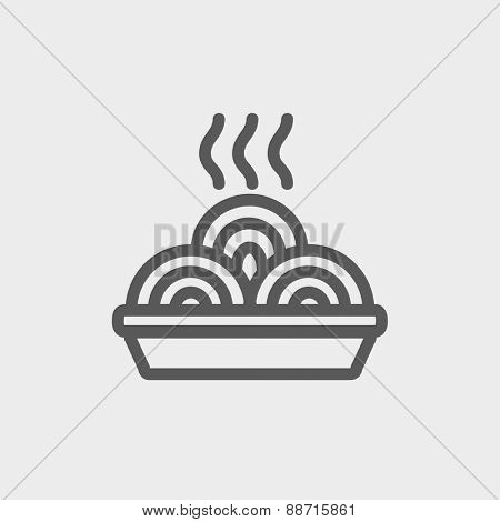 Hot meal in plate icon thin line for web and mobile, modern minimalistic flat design. Vector dark grey icon on light grey background.