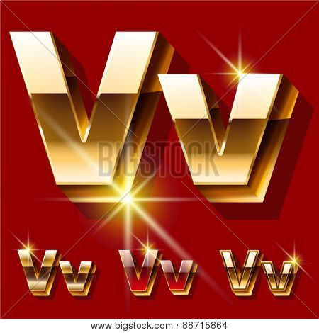 Vector set of deluxe sparkling  gold font. Optional red and gold style. Letter V