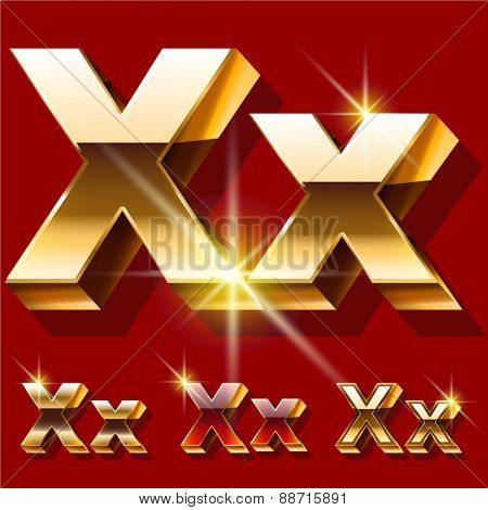 Vector set of deluxe sparkling  gold font. Optional red and gold style. Letter X