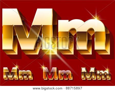 Vector set of deluxe sparkling  gold font. Optional red and gold style. Letter M