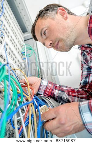 Technician in the server room