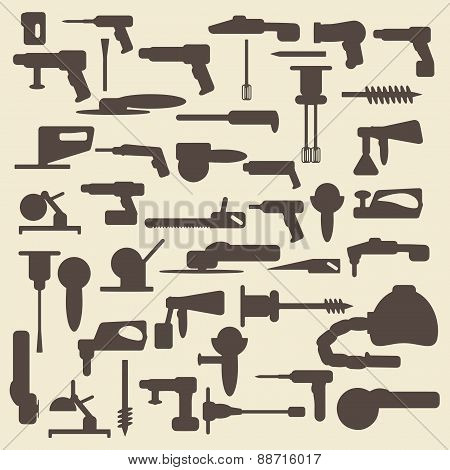 Electric construction tools silhouette icons  set. Perfect for web design vector.