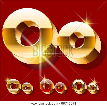 Vector set of deluxe sparkling  gold font. Optional red and gold style. Letter O