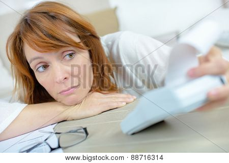 Woman going over her finances