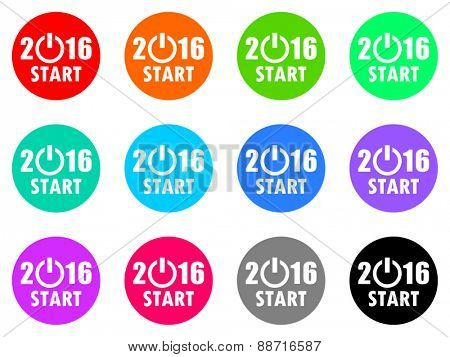 new year 2016 vector web icon set