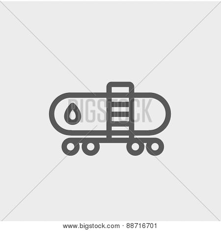 Gas and oil tank icon thin line for web and mobile, modern minimalistic flat design. Vector dark grey icon on light grey background.
