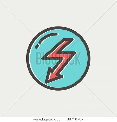Bubble with lightning arrow icon thin line for web and mobile, modern minimalistic flat design. Vector icon with dark grey outline and offset colour on light grey background.