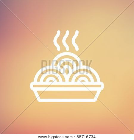 Hot meal in plate icon thin line for web and mobile, modern minimalistic flat design. Vector white icon on gradient mesh background.