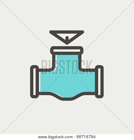 Oil pipe icon thin line for web and mobile, modern minimalistic flat design. Vector icon with dark grey outline and offset colour on light grey background.