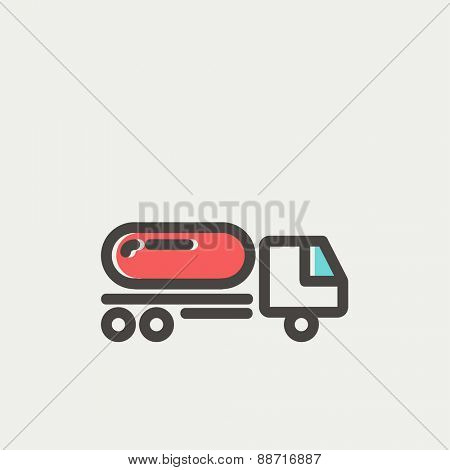 Fuel truck icon thin line for web and mobile, modern minimalistic flat design. Vector icon with dark grey outline and offset colour on light grey background.