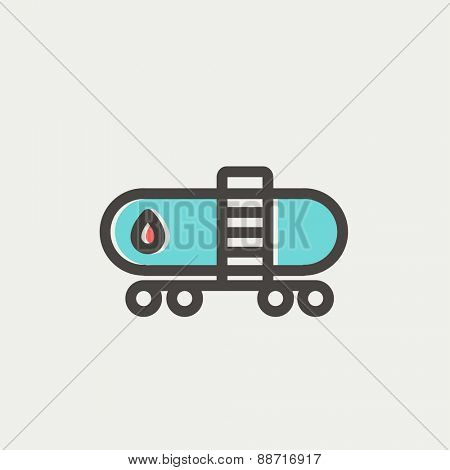 Gas and oil tank icon thin line for web and mobile, modern minimalistic flat design. Vector icon with dark grey outline and offset colour on light grey background.