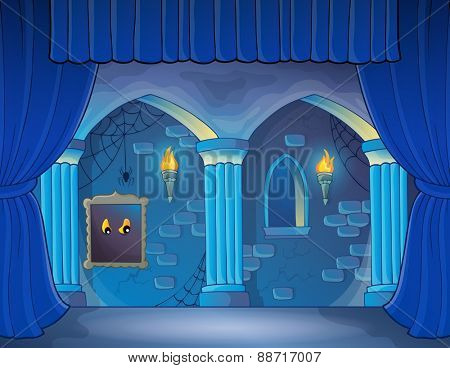 Stage with haunted interior theme - eps10 vector illustration.
