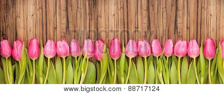 flower tulips background on wooden table