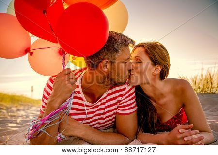 happy balloon relationship lying in sunset dawn