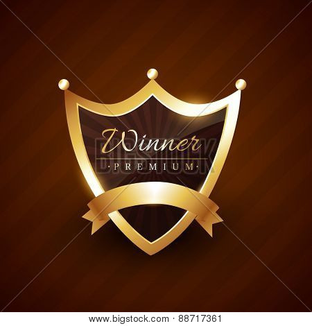 crown style badge design with winner text vector illustration