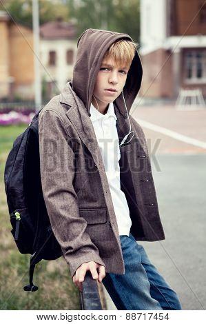 Portrait Of  Sad Teenager Outdoor