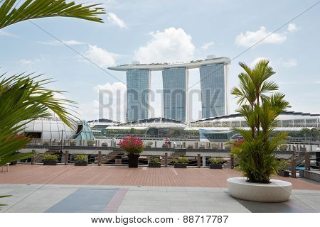 SINGAPORE - FEBRUARY 18, 2015: Marina Bay Sands is an Integrated Resort fronting Marina Bay in Singapore. It was opened in 2011 and features world's most expensive standalone casino.