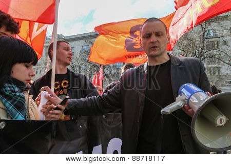 MOSCOW, RUSSIA - MAY 1, 2013: During celebration of May Day. Sergei Udaltsov  - one of leaders of Protest movement in Russia. In 2011-2012, he helped lead a series of protests against Vladimir Putin.