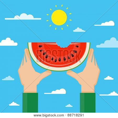 Flat design vector illustration of hands holding watermelon high against the sky