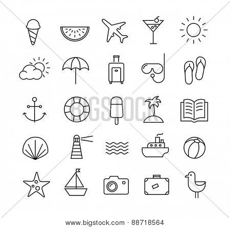 Collection of icons representing summer, travel, sea, beaches and relax. Modern, thin lines style.