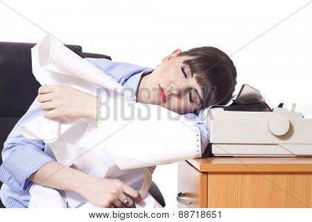 Business woman with lot of paper work, tired and sleep on desk