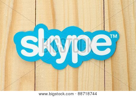 KIEV UKRAINE - FEBRUARY 19 2015: Skype logotype